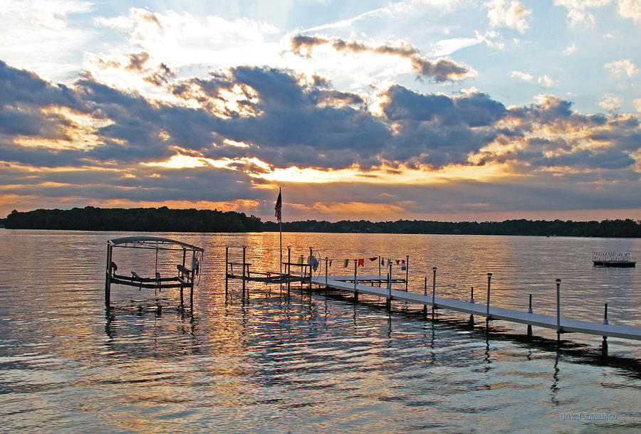 Choppy Water Photograph - Evening Calm On Orchard Lake by Garth Glazier