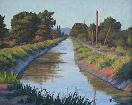 River Painting - Evening Canal by Mark Ploss
