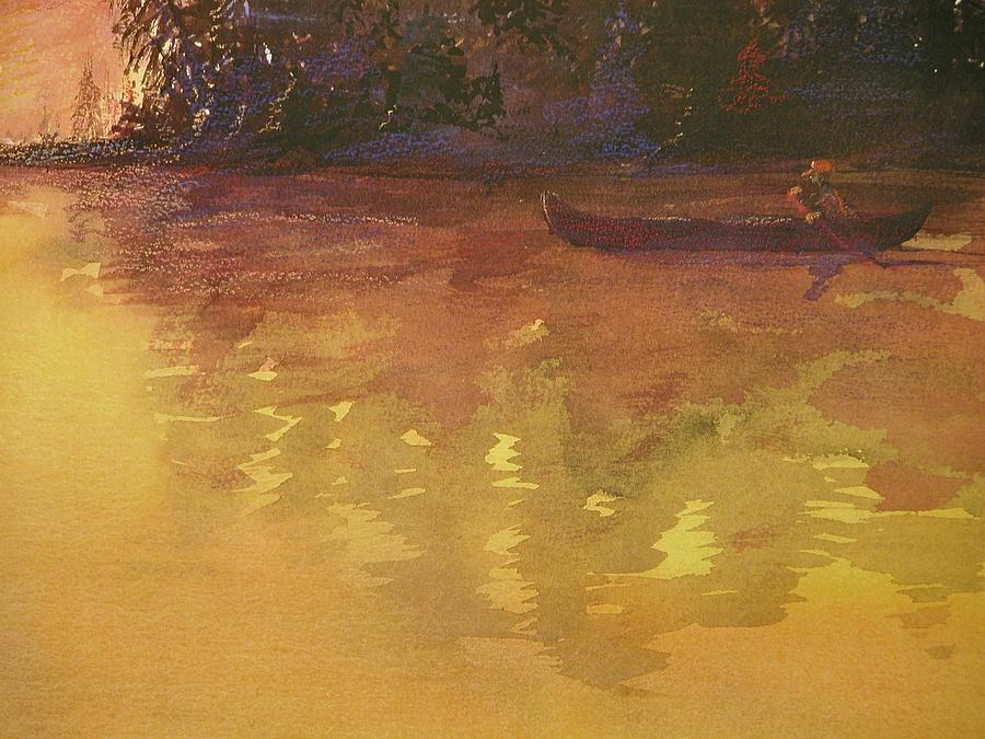 Canoe Painting - Evening Canoe Ride by Walt Maes