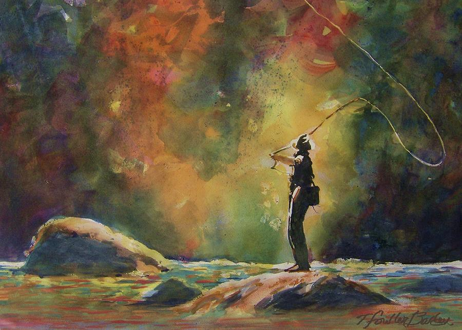 Fly Fisherman Painting - Evening Cast by Therese Fowler-Bailey