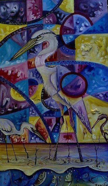 Bird Painting - Evening Catch by Evanson Elad