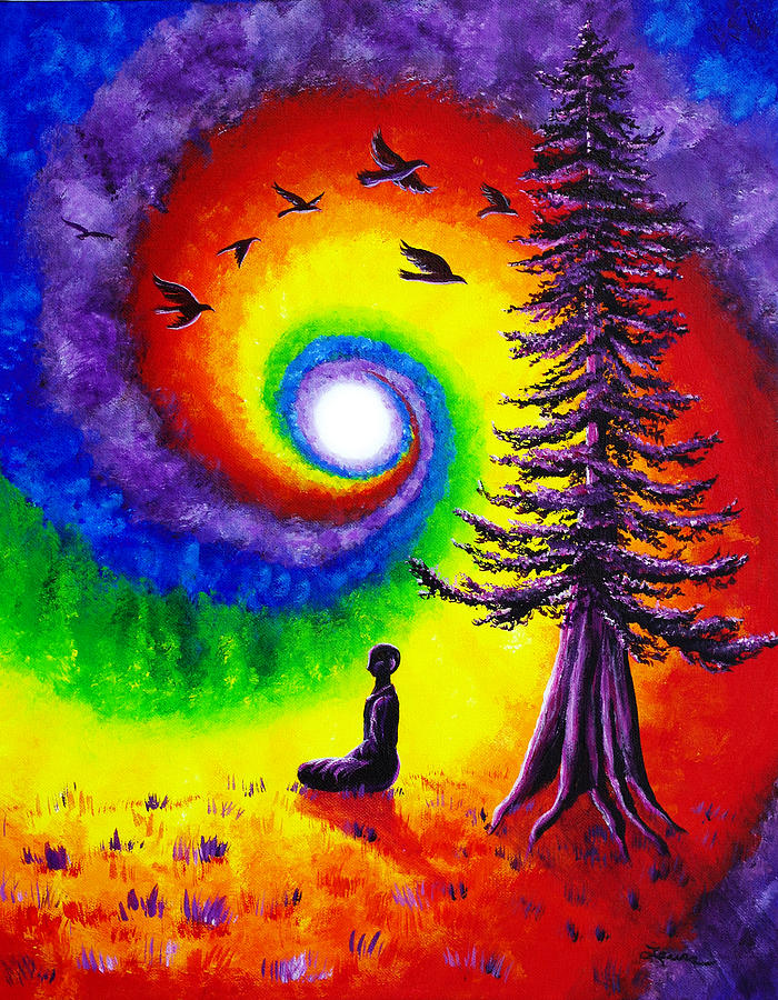 Evening Chakra Meditation Painting by Laura Iverson