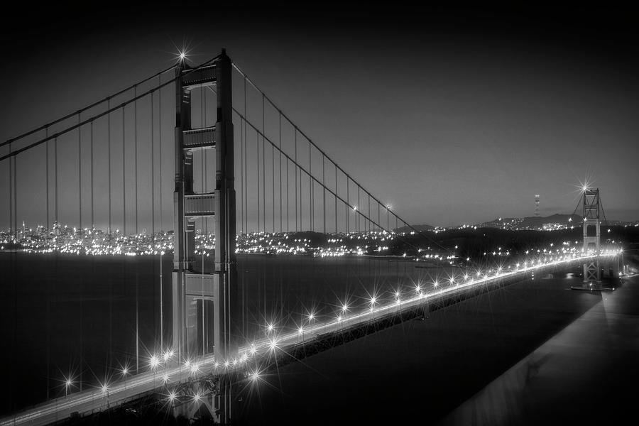America Photograph - Evening Cityscape Of Golden Gate Bridge Monochrome by Melanie Viola