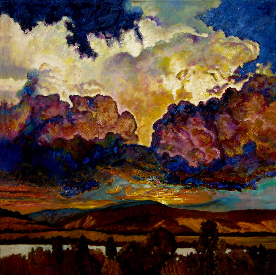 Sunset Painting - Evening Clouds Over The Valley by John Lautermilch