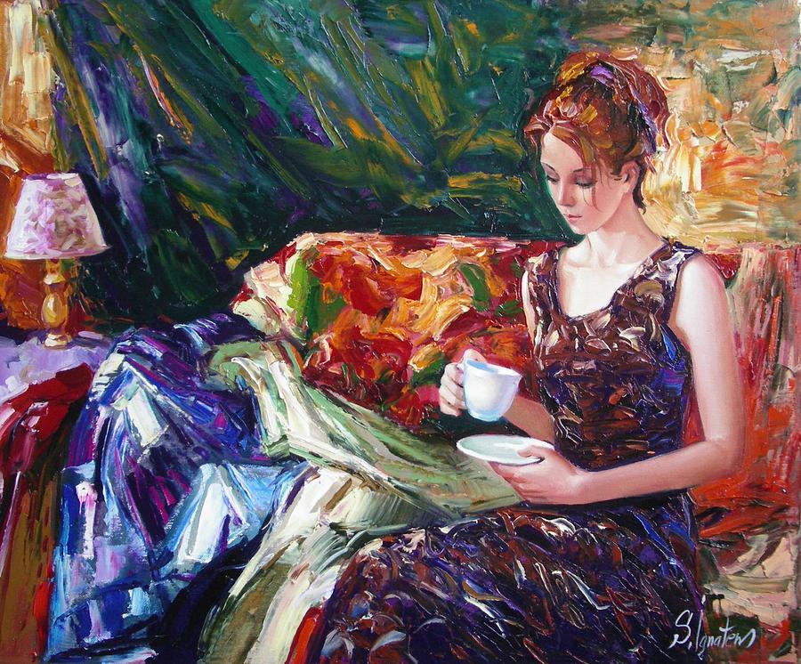 Figurative Painting - Evening Coffee by Sergey Ignatenko