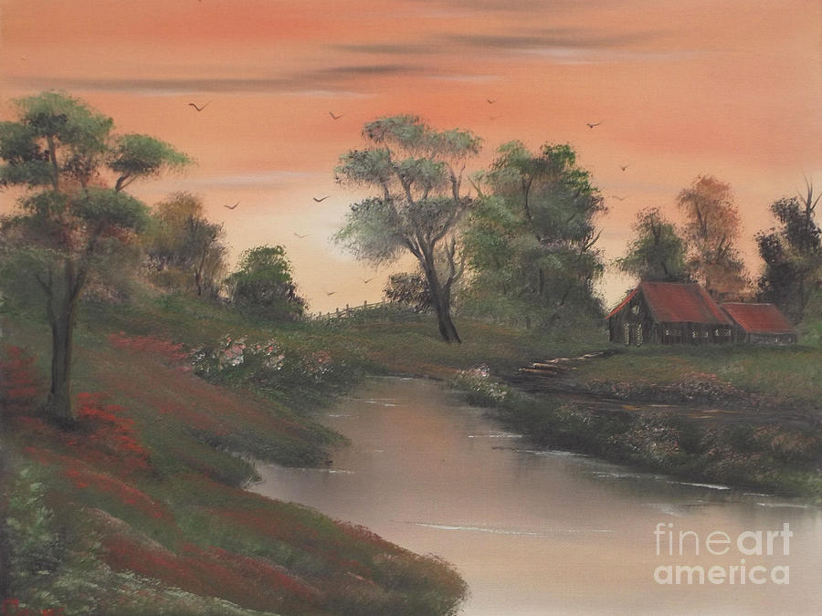 Farm Painting - Evening Draws In On The Homestead by Cynthia Adams