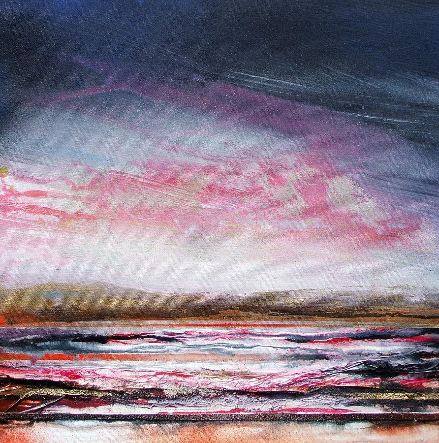 Evening Druridge Bay Northumberland Mixed Media by Mike   Bell