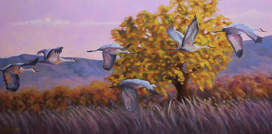 Sandhill Cranes Painting - Evening Flight by Katy Widger