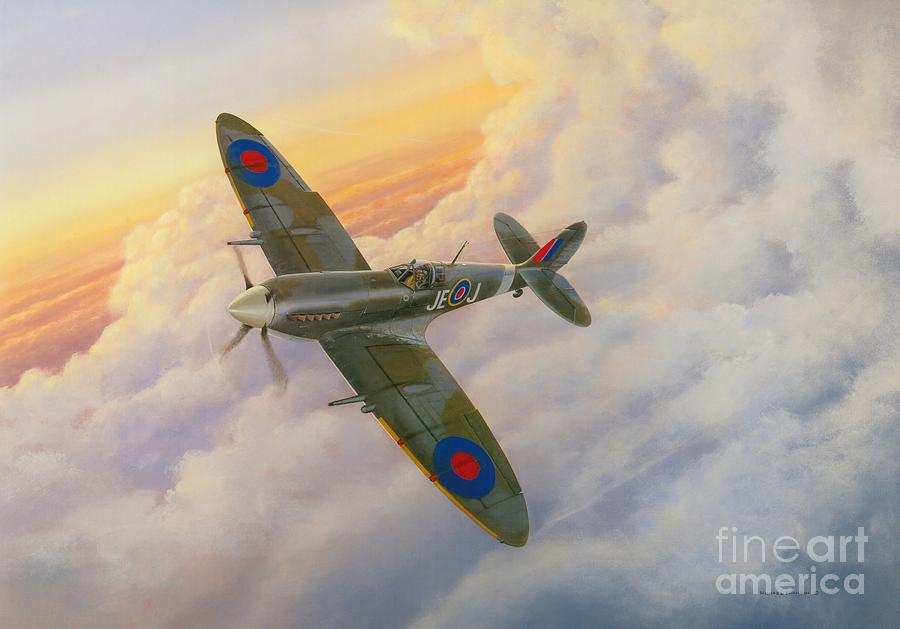 Supermarine Spitfire Painting - Evening Flight by Michael Swanson