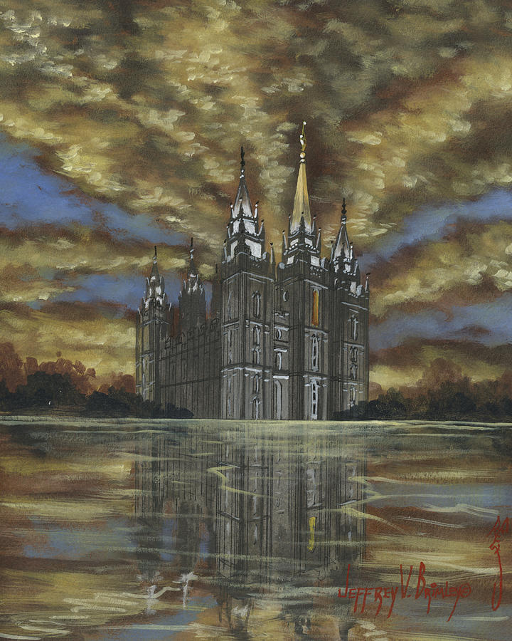 Salt Lake Temple Painting - Evening Glory by Jeff Brimley