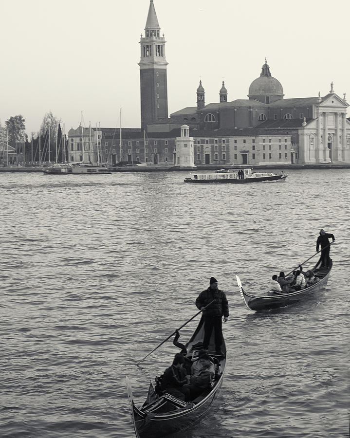 Evening Gondoliers, Venice, Italy by Richard Goodrich