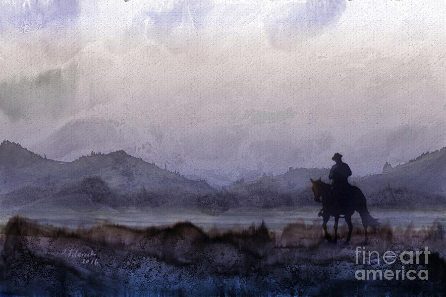 Horseback Ride Painting - Evening Horseback Ride by Judy Filarecki