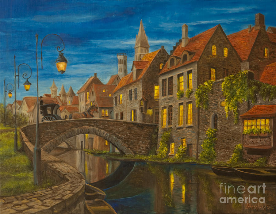 Bruges Belgium Art Painting - Evening In Brugge by Charlotte Blanchard