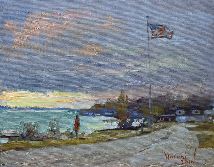 Evening Painting - Evening In Gratwick Waterfront Park by Ylli Haruni