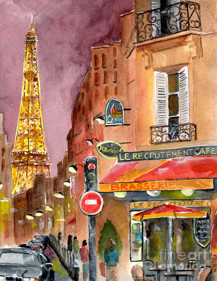 Paris Painting - Evening in Paris by Sheryl Heatherly Hawkins