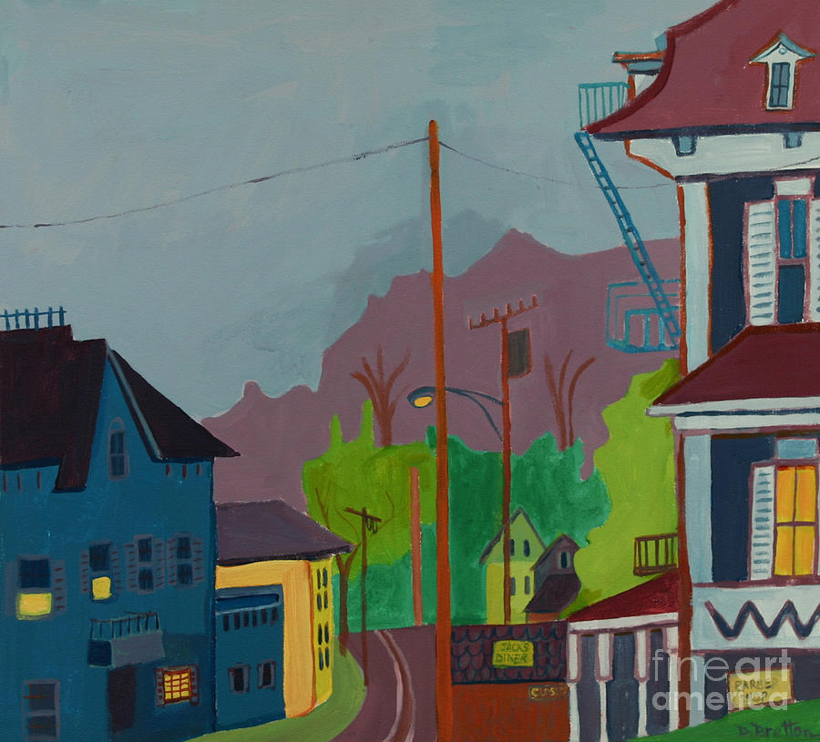Town Painting - Evening in Town Chelmsford MA by Debra Bretton Robinson