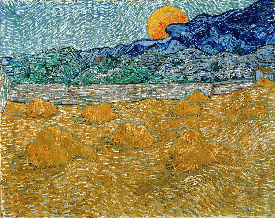 Vincent Van Gogh Painting - Evening Landscape With Rising Moon by Van Gogh