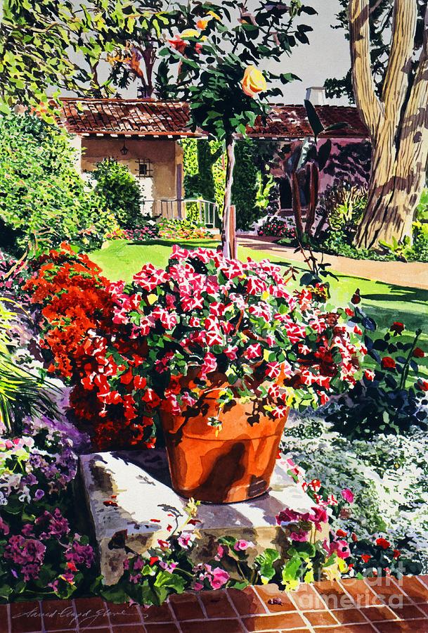 Gardens Painting - Evening Light Santa Barbara Biltmore by David Lloyd Glover