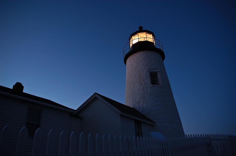 Lighthouse Photograph - Evening Lighthouse Pemequid Point Me by Richard Danek