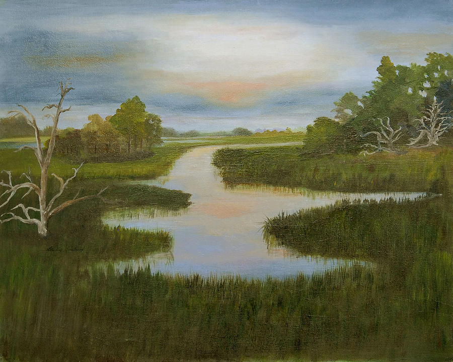 Evening Marsh Painting by Shirley Lawing