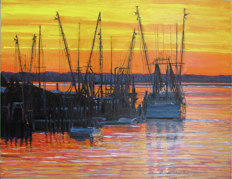 Mt. Pleasant Painting - Evening On Shem Creek by Thomas Michael Meddaugh