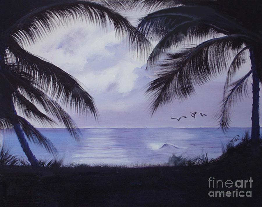 Seascape Painting - Evening Palms by Tobi Czumak