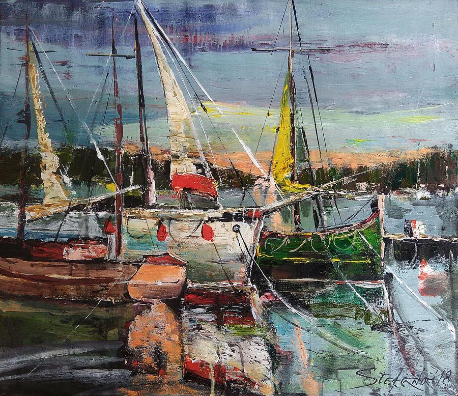 Port Painting - Evening Pause by Stefano Popovski