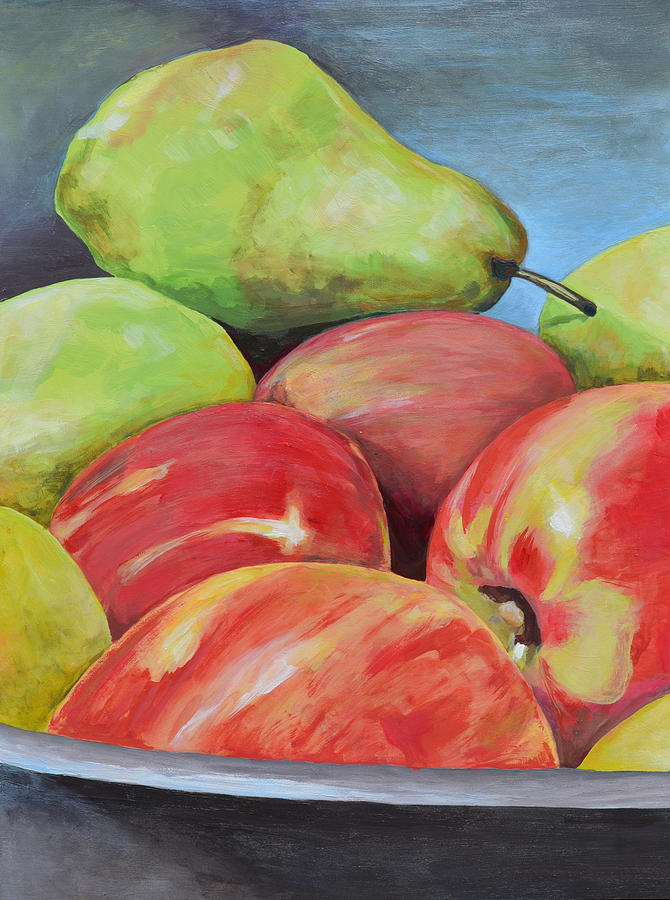 Apples Painting - Evening Pears And Apples by Mary Chant