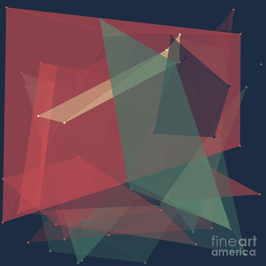 Abstract Digital Art - Evening Polygon Pattern by Frank Ramspott