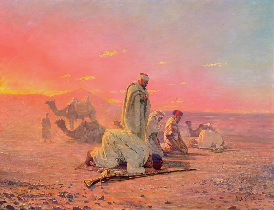 EVENING PRAYERS IN THE DESERT. Otto Pilny (1866 - 1936