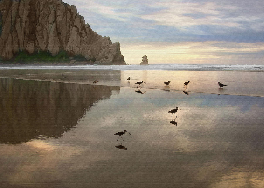 Morro Rock Digital Art - Evening Reflection by Sharon Foster