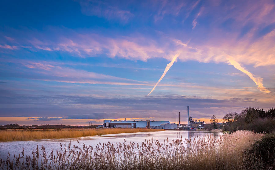 Sky Photograph - Evening River Scene by Gary Gillette