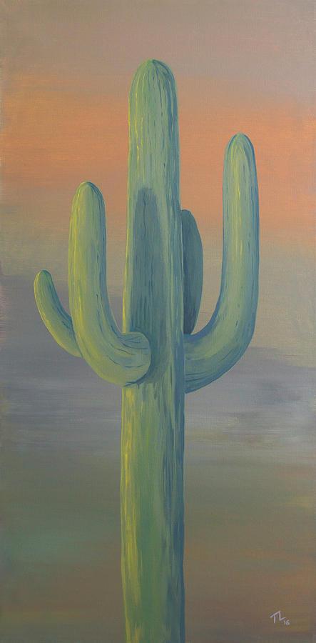 Desert Painting - Evening Saguaro by Teddy Lewis