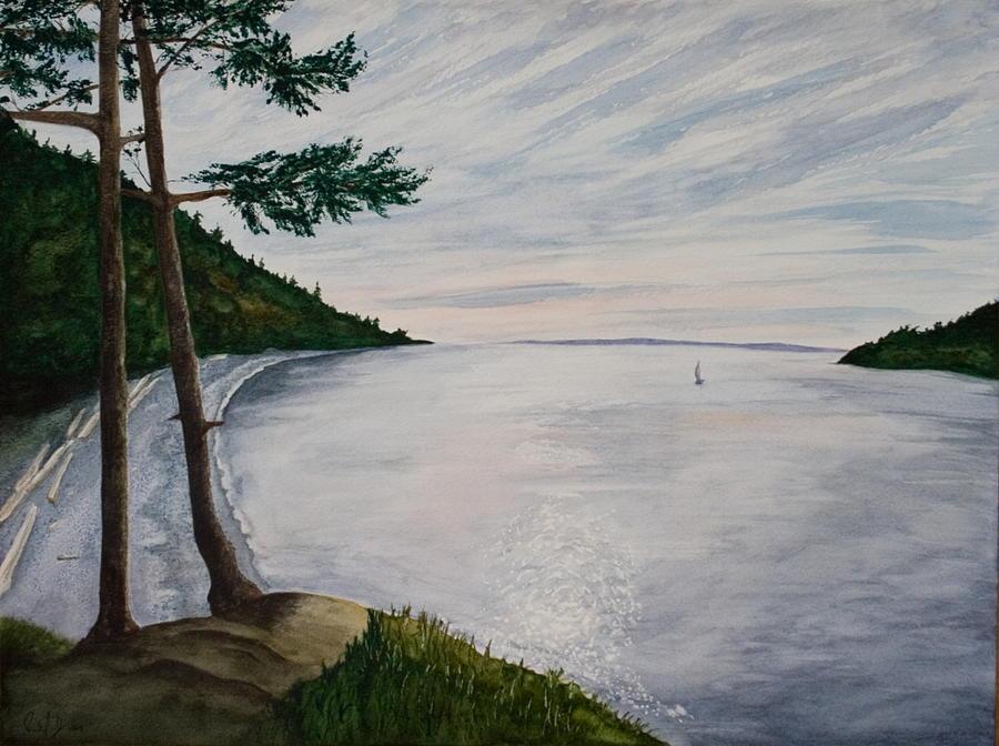 Seascape Painting - Evening Sail by Monika Degan