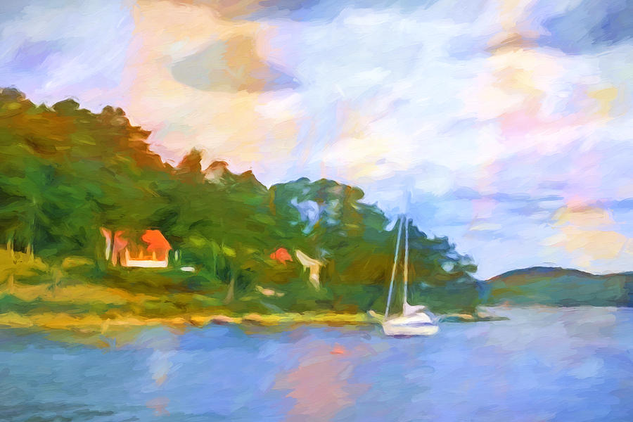 Impressionist Seascape Painting - Evening Seascape by Lutz Baar