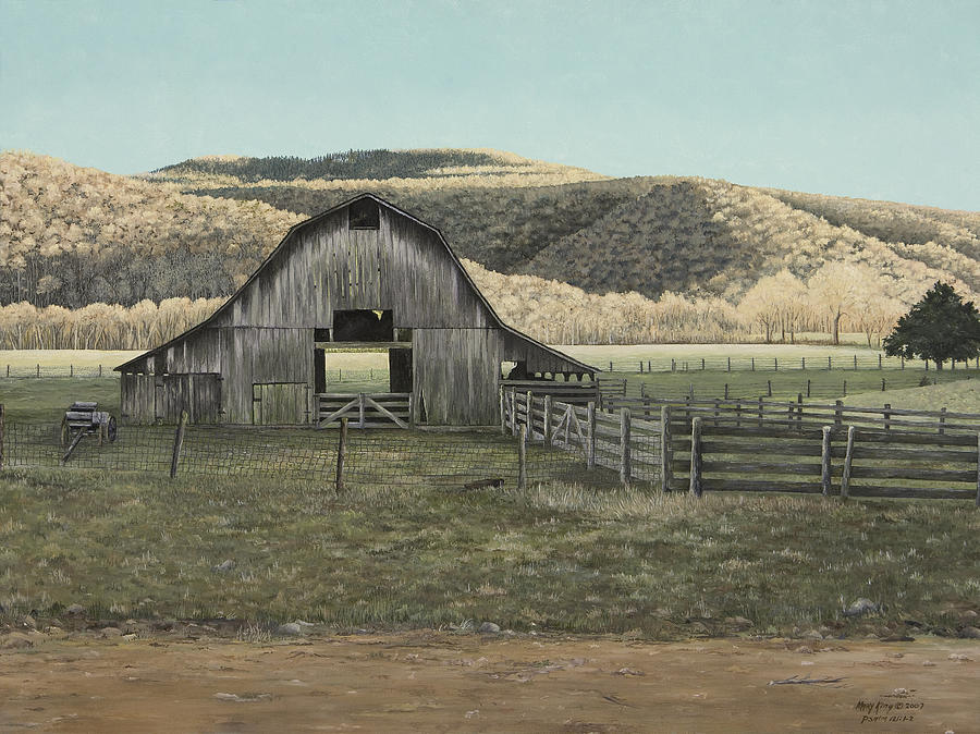 Old Barn Art Painting - Evening Shadows In Boxley Valley by Mary Ann King