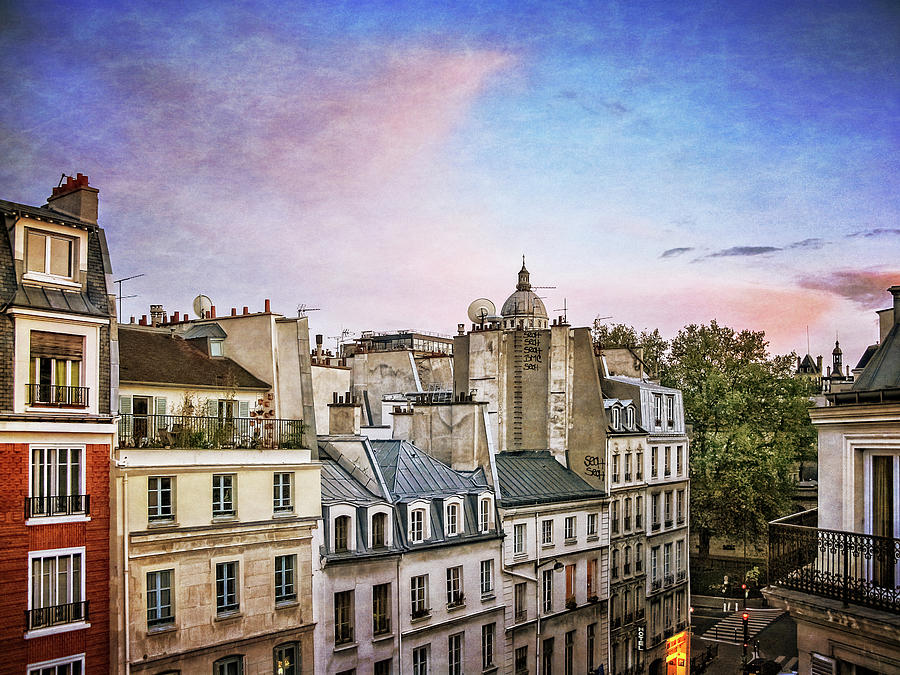 Paris Photograph - Evening Skyline by David Thompson