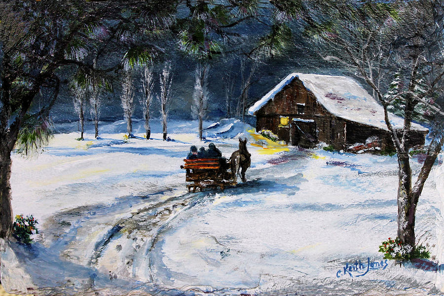 Sleigh Ride Painting - Evening Sleigh Ride by C Keith Jones
