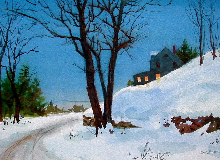 Snow Painting - Evening Snow by Faye Ziegler