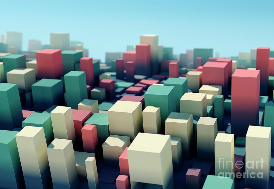 Design Digital Art - Evening Square Variation Pattern Abstract 3D Cityscape DOF by Frank Ramspott