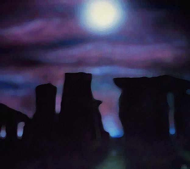 Stonehenge At Night Painting - Evening Stone by Douglas Egolf