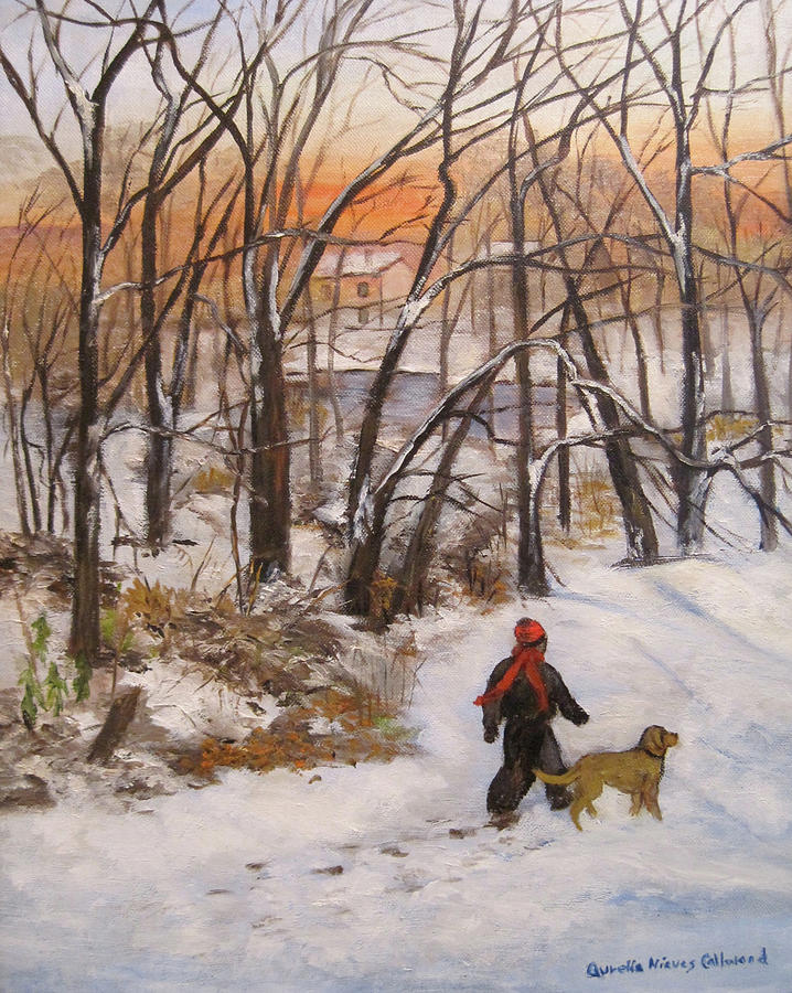 Snow Scene Painting - Evening Stroll by Aurelia Nieves-Callwood