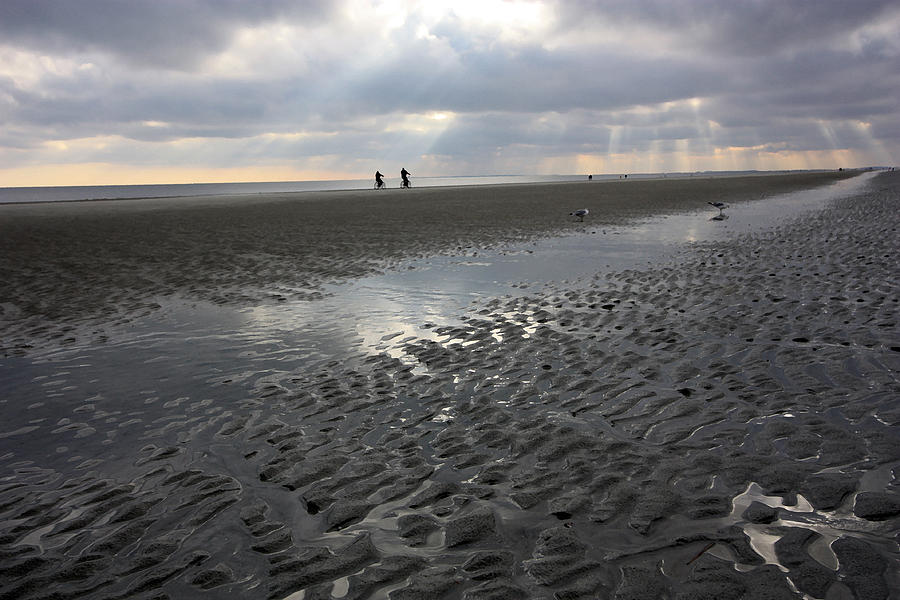 Beach Photograph - Evening Stroll by Mary Haber