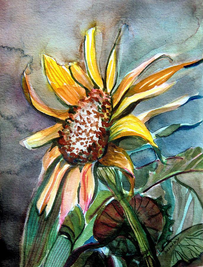 Sunflower Painting - Evening Sun Flower by Mindy Newman