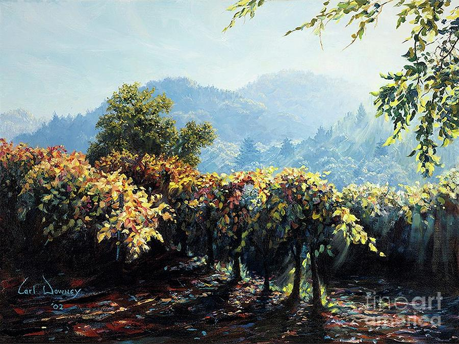 Wineries Painting - Evening Vines by Carl Downey