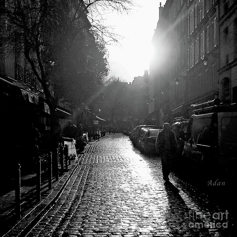 Paris Photograph - Evening Walk In Paris Bw Squared by Felipe Adan Lerma