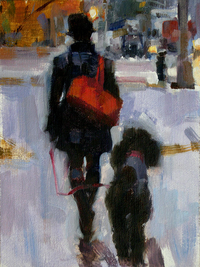 Dogs Painting - Evening Walk by Merle Keller