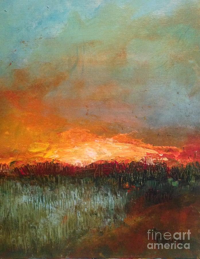 Sunset Painting - Evening Walk by Terri Davis
