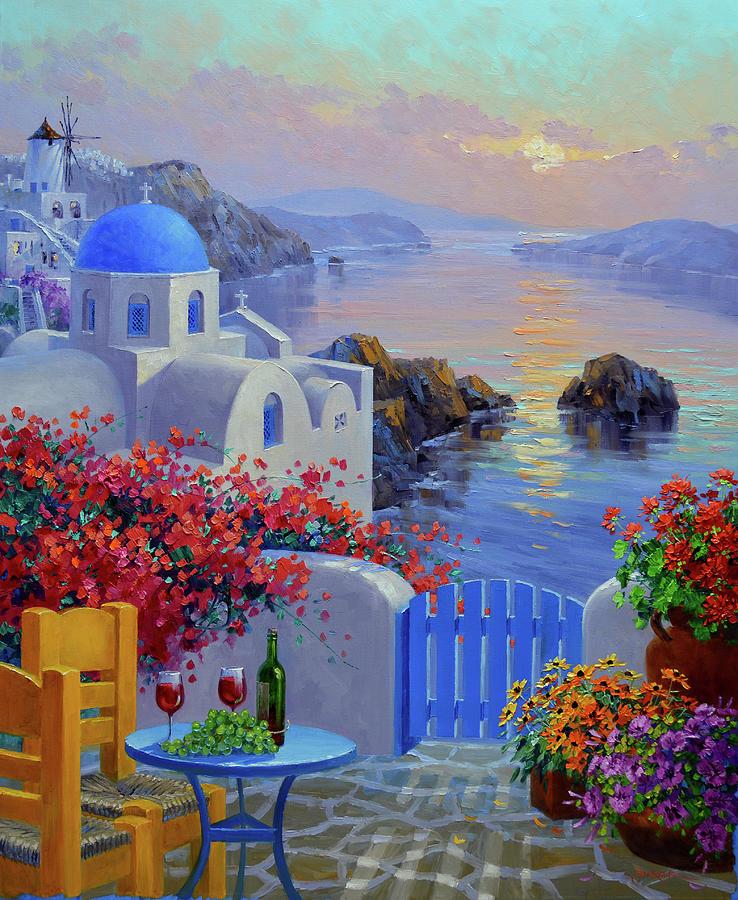 Santorini Painting - Evenings Allure by Mikki Senkarik