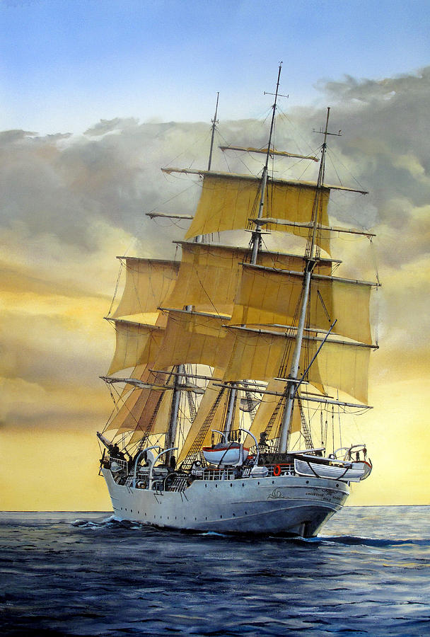 Sailing Ship Painting - Eventide by Tim Johnson